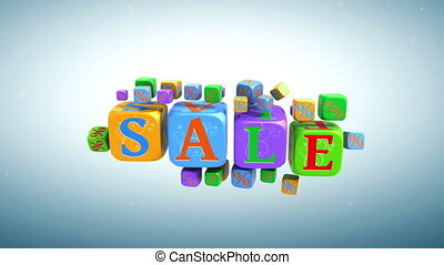 Sale - The word sale is going from cubes with letters