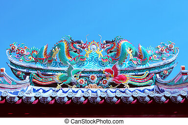 beautiful dragon statue decorated on chinese temple roof...