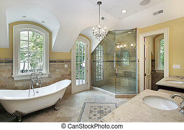 Master bath iwith glass shower - Master bath in new...