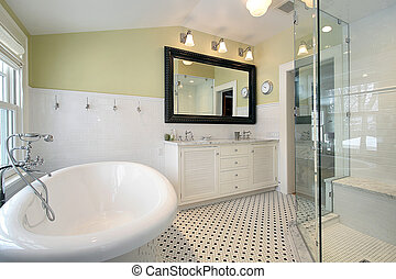 Master bath in luxury home with glass shower and large tub