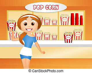 popcorn shop - illustration of popcorn shop