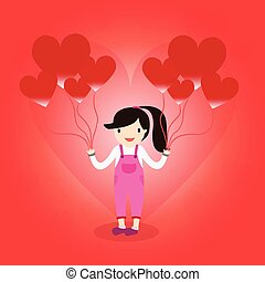 Girl is in love holding a heart balloon Valentine