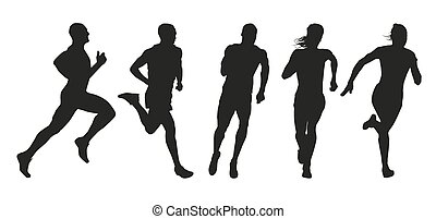 Set of silhouettes of runners. Collection of vector outlines...