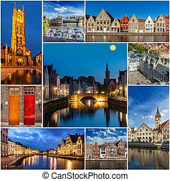 Mosaic collage storyboard of Belgium images