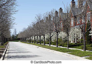 Row of townhouses in spring - Row of townhouses on street in...
