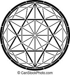 stencil of magic hexagram. vector illustration