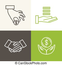 Vector finance and banking icons and logos in outline style...