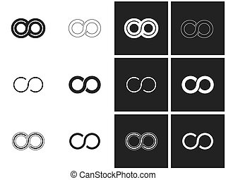 Infinity symbols in set - Infinity symbol set in grey and...