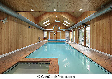 Indoor swiming pool with wood siding