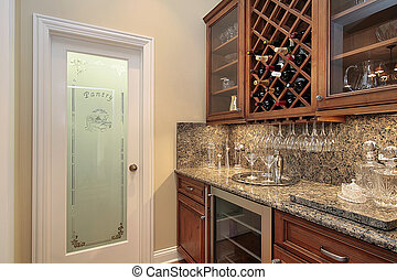Pantry with refrigerator - Butler\'s pantry with...