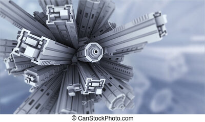 Techno World - Abstract 3D animation. It is possible to...