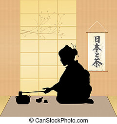 Japanese tea ceremony - illustration of Japanese tea...