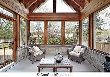 Wood porch with stone walls - Wood porch with stone wall and...