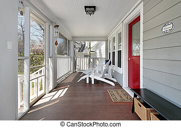 Porch with red door - Porch in suburban home with red door