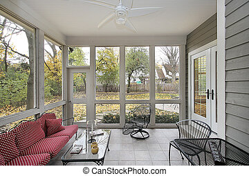 Porch with patio views during the fall