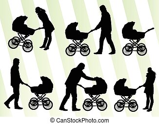 Parents with baby pram vector