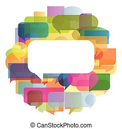 Colorful speech bubbles and balloons cloud illustration...
