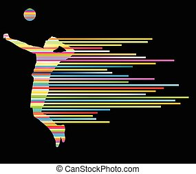 Volleyball player vector silhouette background concept made...