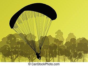 Paragliding active sport background landscape concept vector