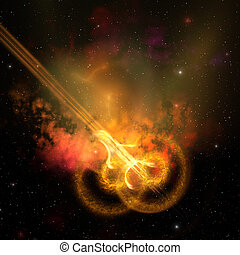 COSMIC LOOP - Stars and gasses collide to form this spacial...