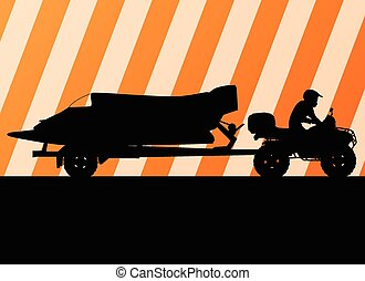 Powerboat trailer vector background poster