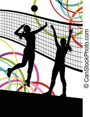 Active young women volleyball player sport silhouettes in...