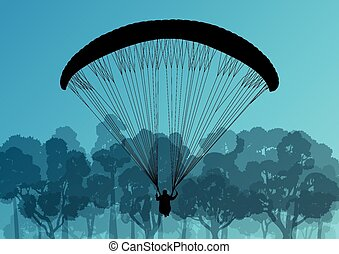 Paragliding active sport background landscape concept vector