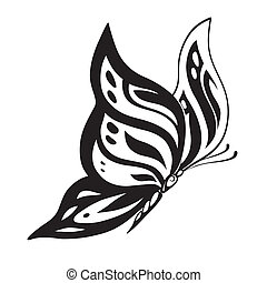 Ornamented abstract silhouette butterfly - Abstract...