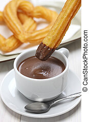 quentes,  churros,  chocolate