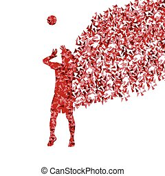 Men volleyball player silhouette vector background concept...