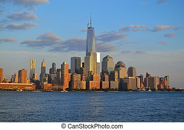 NYCs financial district from the w - Picture taken from a...