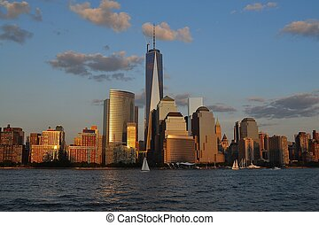 Sailing the Hudson river - Picture taken from a Ferry in the...