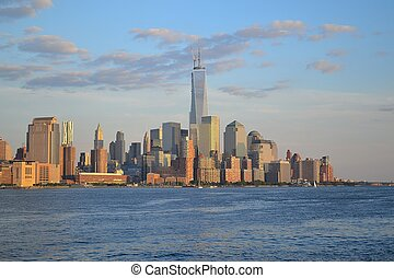 Evening in the Hudson - Picture taken from a Ferry in the...
