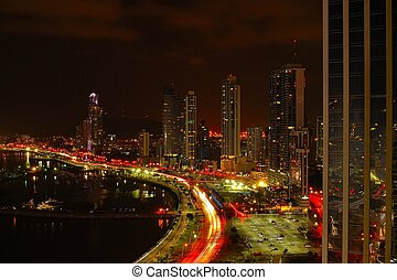 Panama City at night - Financial district of Panama City at...