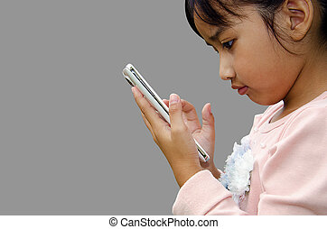 Play Phone - The girls play phone with gray background.