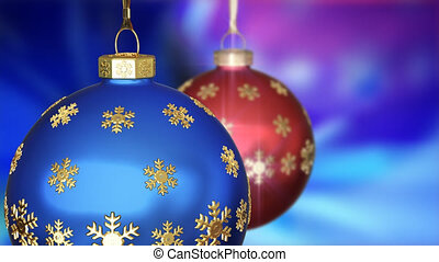 Two Christmas balls on animated background 3D animation...