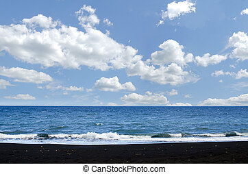 Beach of Bali, Indonesia - Black sand in beach of Bali