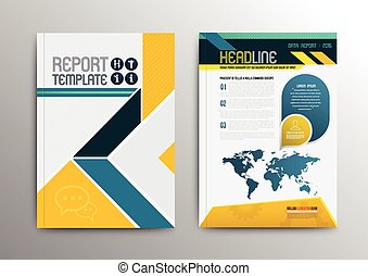 Vector brochure template design with world map. Vector...