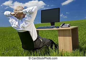 Businessman Relaxing at Desk With Computer In A Green Field...