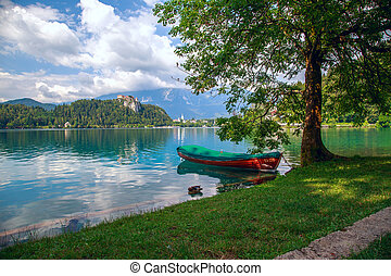 Boats at Lake Bled, Slovenia - Boats at the pier of the Bled...