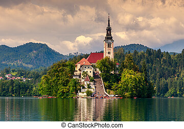 Bled with lake, island and mountains in background,...