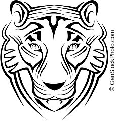 Tiger sign isolated on white as a symbol of wildlife