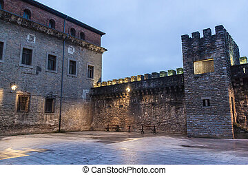 Fortification walls in the old town in Vitoria, Basque...