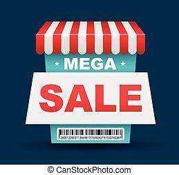 Mega Sale shop banner design with barcode. Vector...