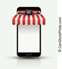 Mobile store concept with awning. - Mobile phone. Mobile...