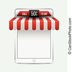 Tablet with awning Mobile store concept Vector illustration...