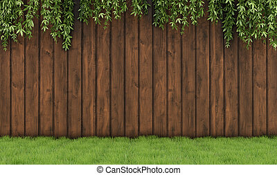 Garden with old wooden fence, grass and leaf plant-3D...