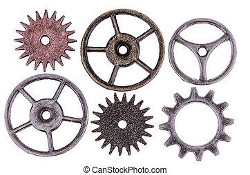 cogwheels - Antique cogwheels isolated on white background...
