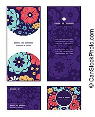 Vector colorful bouquet flowers vertical frame pattern...