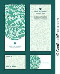 Vector emerald green plants vertical frame pattern...